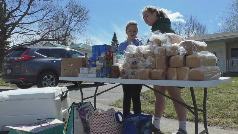 The Phillips family put out food in their front yard for people to come and take what they...