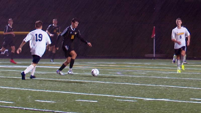 Jude Cook looks to score for South Jefferson, but the shot is stopped by General Brown goalie...