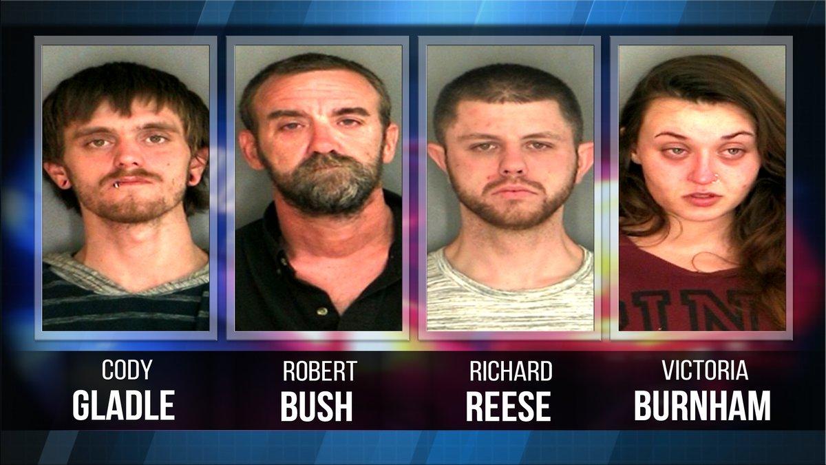 Cody Gladle, Robert Bush, Richard Reese, and Victoria Burnham are accused of manufacturing...