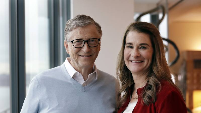 FILE - In this Feb. 1, 2019, file photo, Bill and Melinda French Gates pose together in...