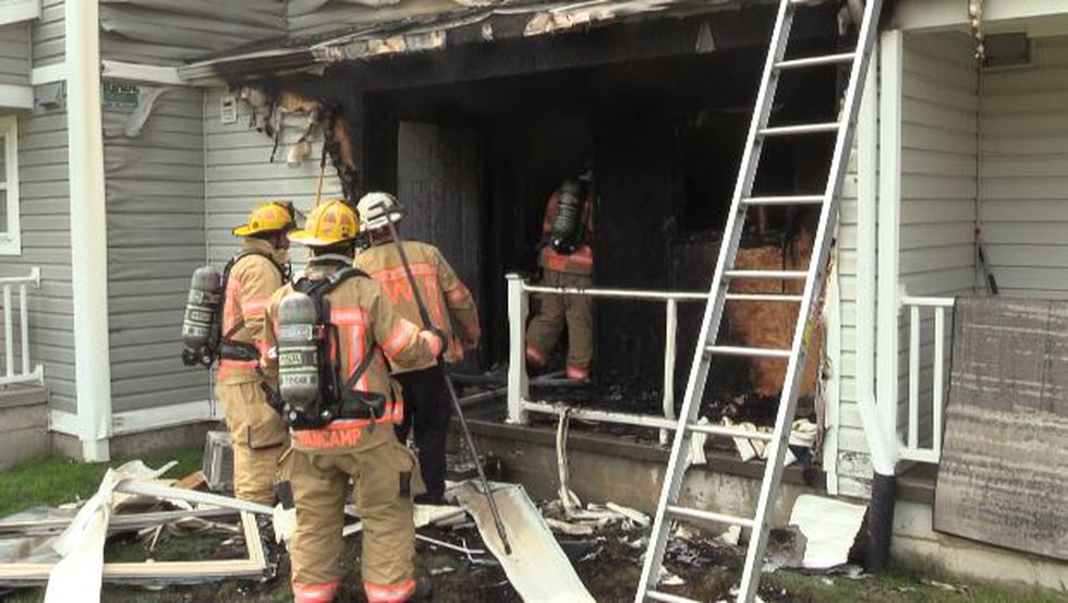 Fire destroyed an apartment in the Summit Wood complex in Watertown