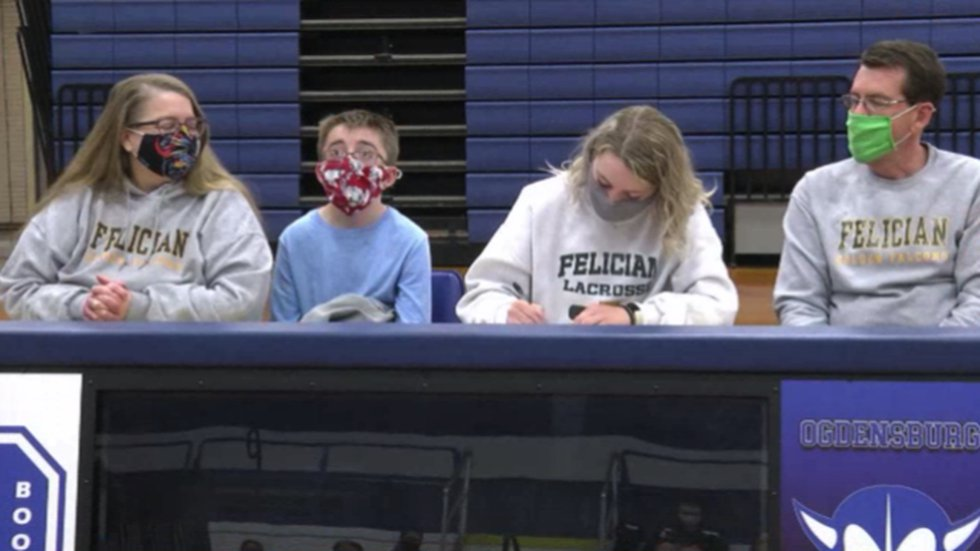 OFA's Paige Merz signed a letter of intent Wednesday to continue her lacrosse career at...
