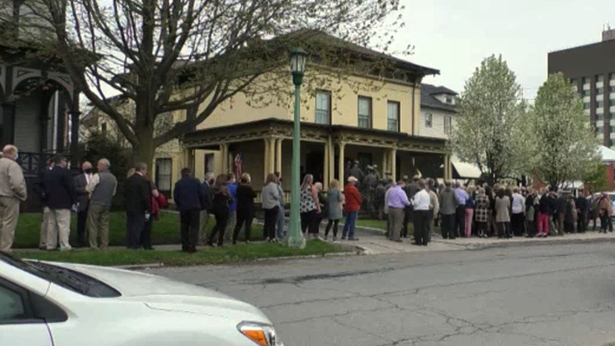 A line stretched down the street as people came out Tuesday to pay their respects to Terry...