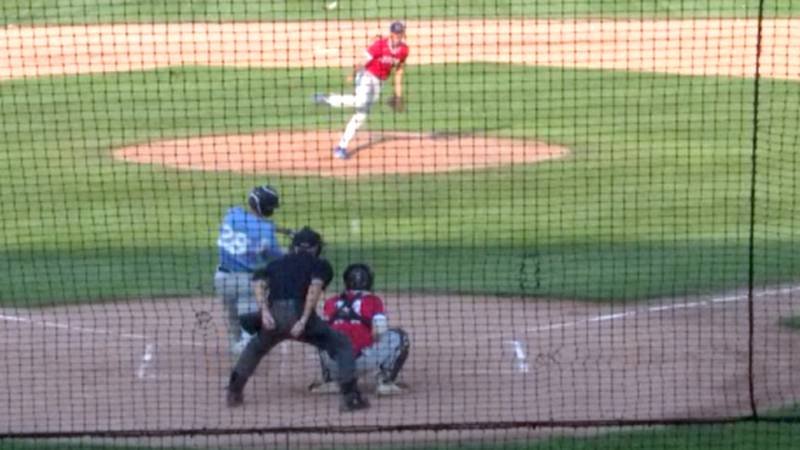 The Watertown Rapids' Dixon Black hits deep into center field for a double in a contest Monday...
