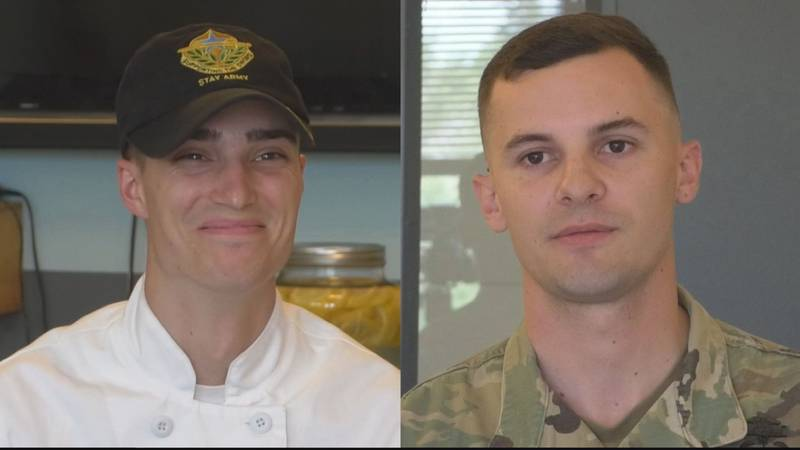 10th Mountain Div. Soldier of the Year, SGT Chancelor Douglas (left) and NCO of the Year, SGT...