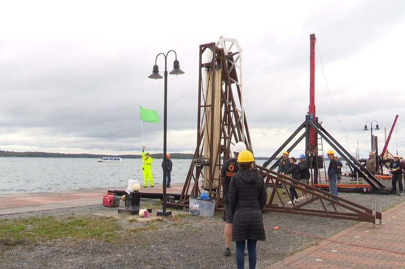 The task is simple. Build a trebuchet, load up a pumpkin, and let it fly into the St. Lawrence...