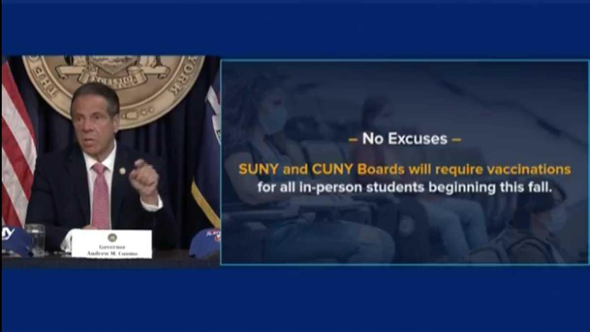 College students need to be vaccinated against COVID-19 before they can attend New York's...