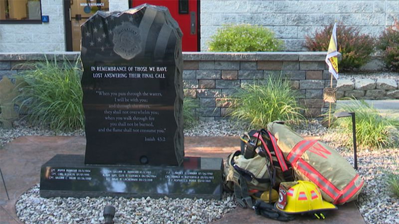 The name of fallen Watertown firefighter Peyton Morse is now etched in stone at the Watertown...