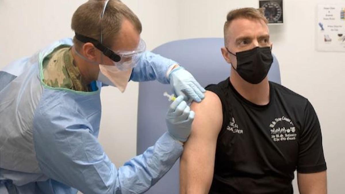 File photo: soldier receives COVID vaccine