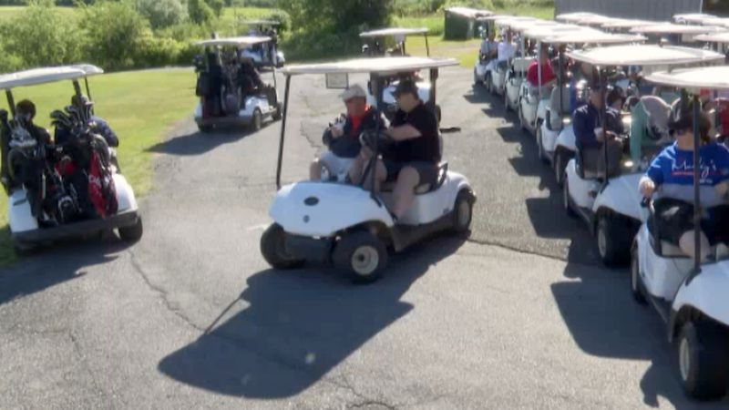 Forty teams line up for the annual Frank Caprara Memorial Golf Tournament held Wednesday. It's...