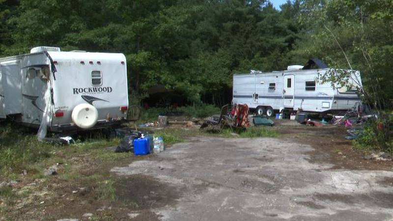 Town officials say they've been trying to get the two campers removed for months - with no...