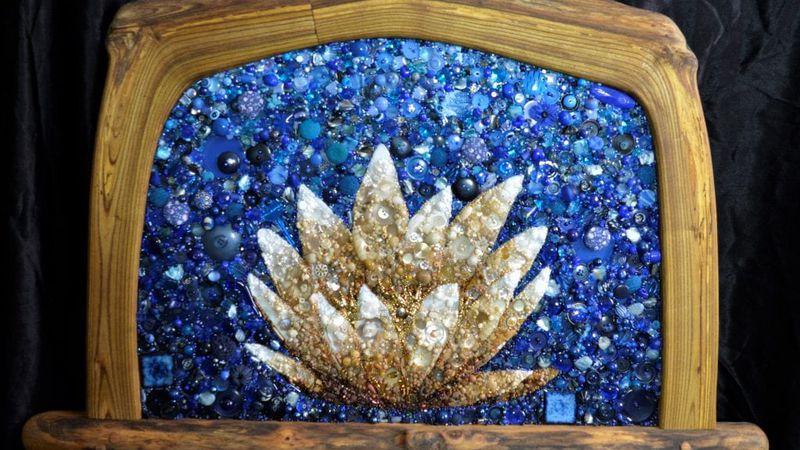 Lotus best in show, art by Heron Hertzler 2021 Bits and Pieces Art Exhibit.